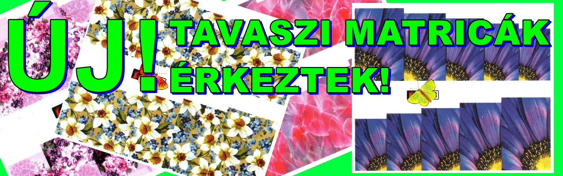 Tavaszi körmös matricák, virágok.